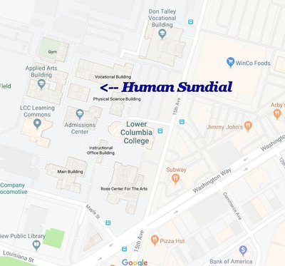 Map of the Human Sundial at Lower Columbia College